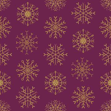 Golden snowflakes on burgundy background