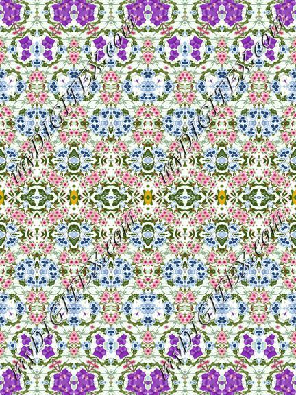 Geometric Fashion Print Purple Blue Pink Floral