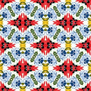Geometric Fashion Print Blue Red Black Yellow