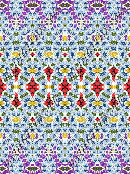 Geometric Fashion Print Purple Red Blue Floral
