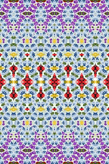 Geometric Fashion Print Purple Red Blue Floral
