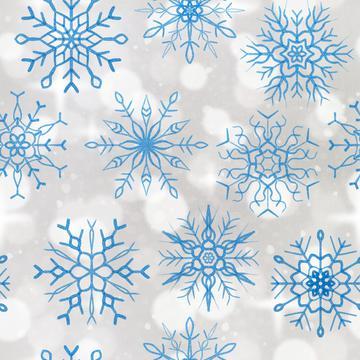 Snowflake bokeh blue