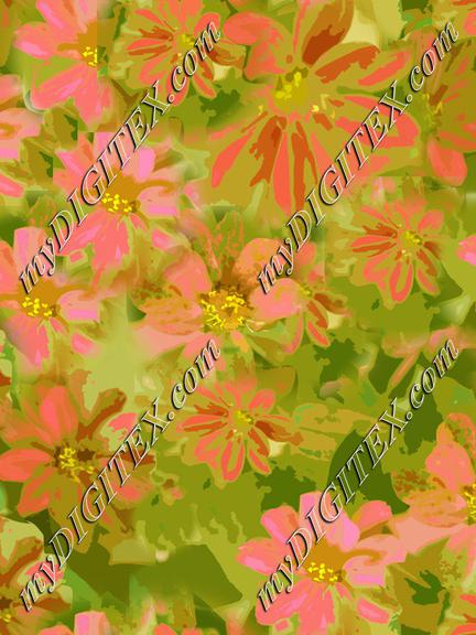 pink and green floral