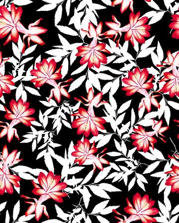 red floral dark background print