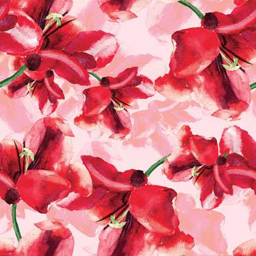Watercolour floral red design