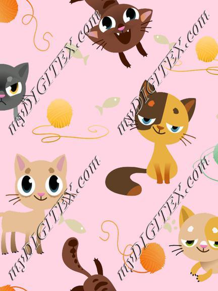 cats on pink, kidswear
