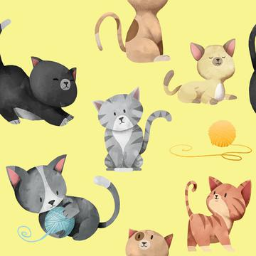 Cats on Yellow