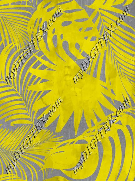 Yellow Grey Exotic Palm Leaves