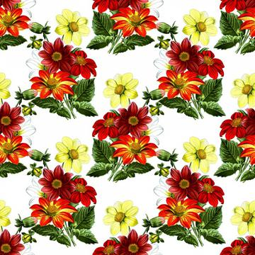 Dahlias vintage floral wallpaper