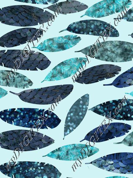 Blue Mermaid Feathers