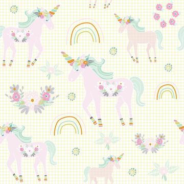 Unicorn pattern yellow bg-01