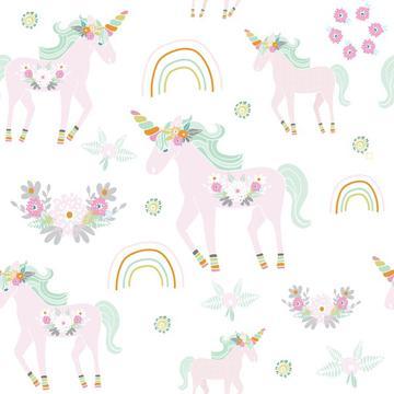Unicorn pattern white bg-01