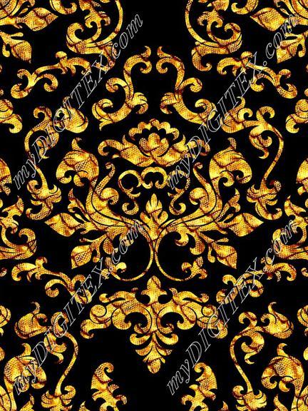 Damask Variations Gold Dragon on Black