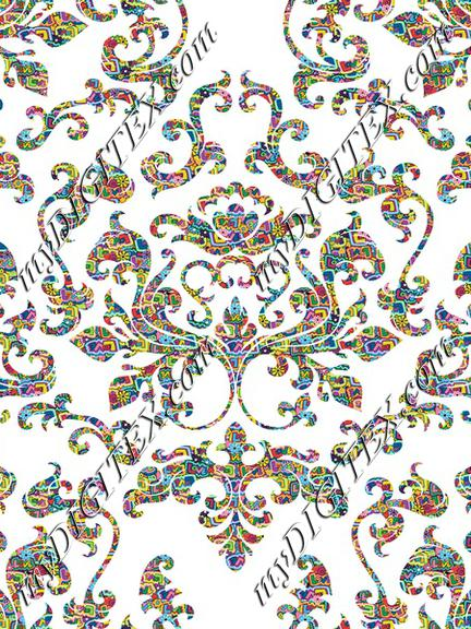 Damask Variations Hippie Love on White