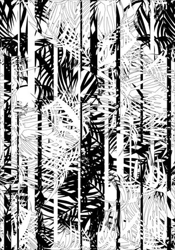 B&W stripes tropical leaves print