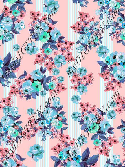 Cute watercolour stripes floral