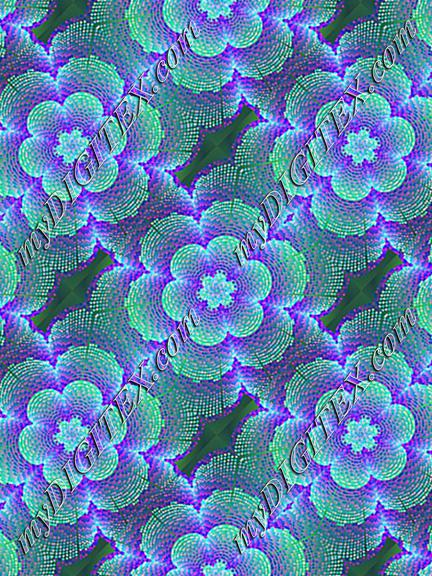 Blue abstract floral print