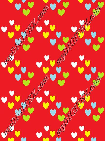 Colorful hearts on red
