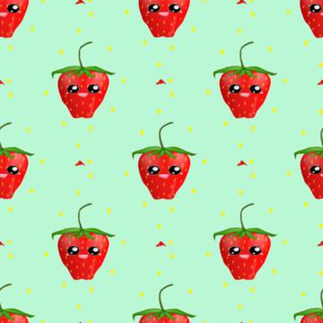 strawberry fruit kawaii