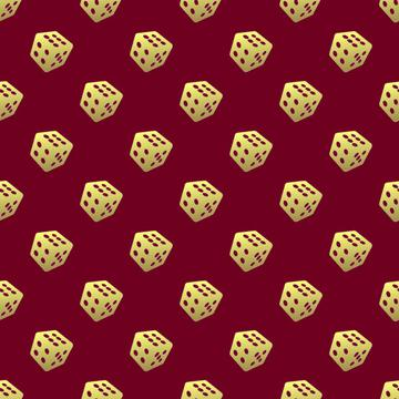 gold dice on red
