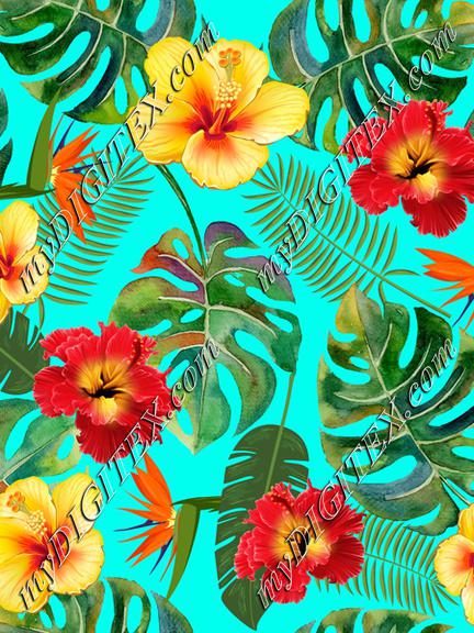 Tropical Leaves and Flowers on blue