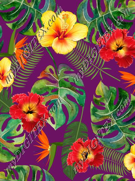 Tropical Leaves and fflowers on purple