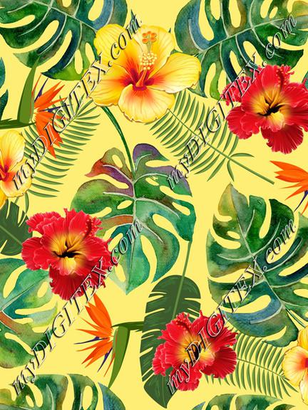 Tropical Leaves and Flowers yellow