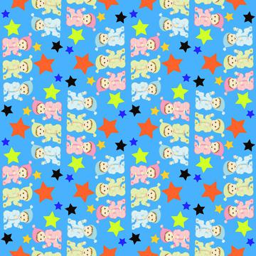 Babies and stars pattern
