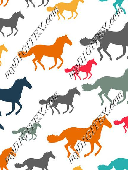Colorful horses parttern