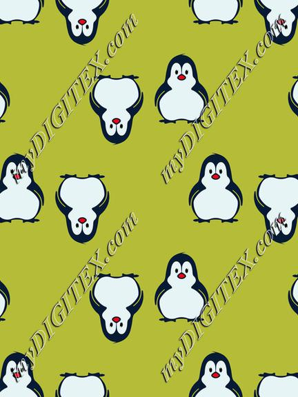 Penguins on a green pattern