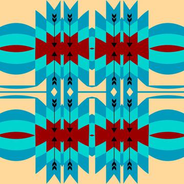 Blue brown tribal shapes