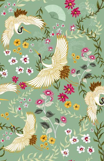 Chinoiserie Crane and flowers on green