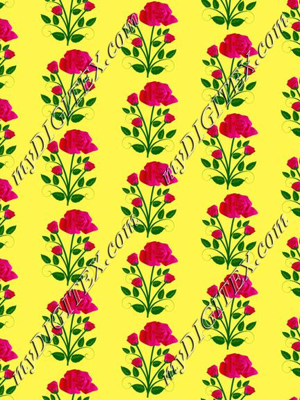 Pink roses on a yellow background pattern