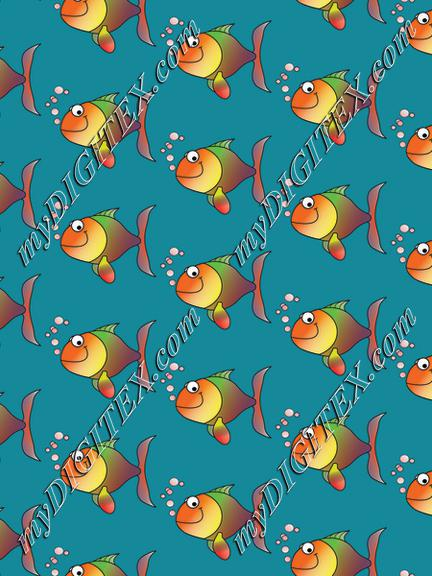 Fish on a blue background pattern