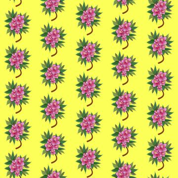 Pink flowers on a yellow background pattern