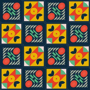 Shapes in squares pattern