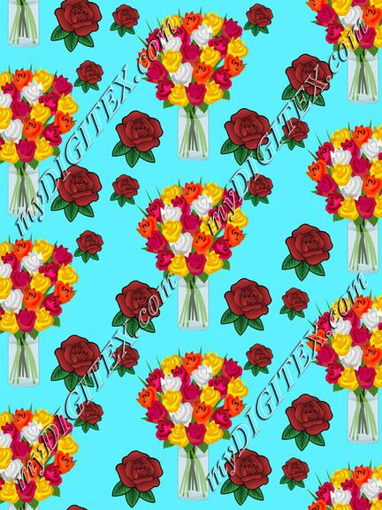 Roses on a blue background pattern