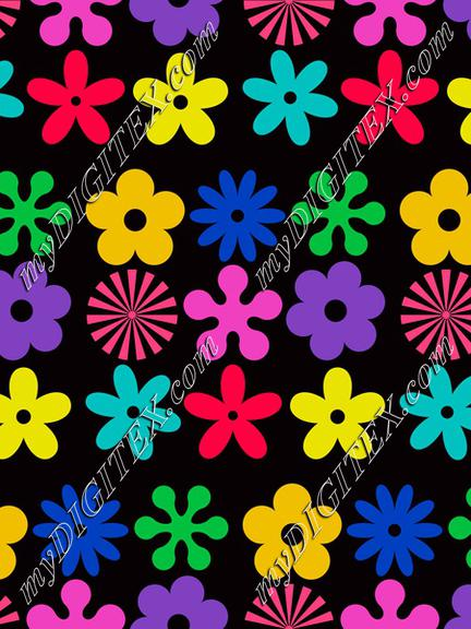 Colorful flowers on a black background pattern