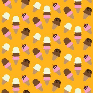 Ice cream on an orange backgroun pattern