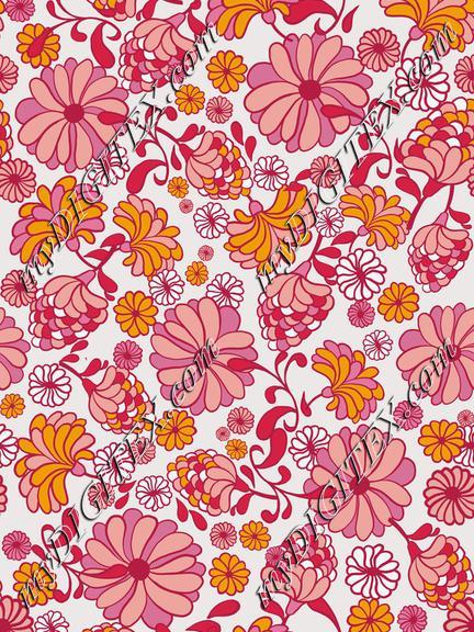 Retro 70s pink flowers-REPEAT