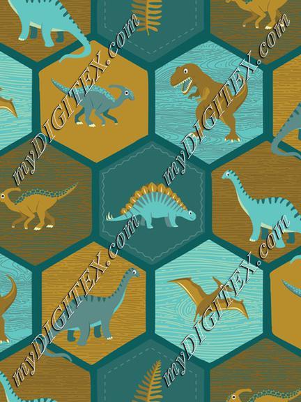 Dinosaur Hex - Teal