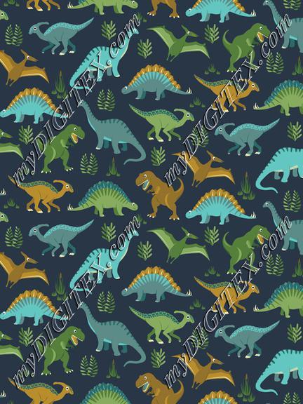 Dinosaur Vegetation Scatter - Navy