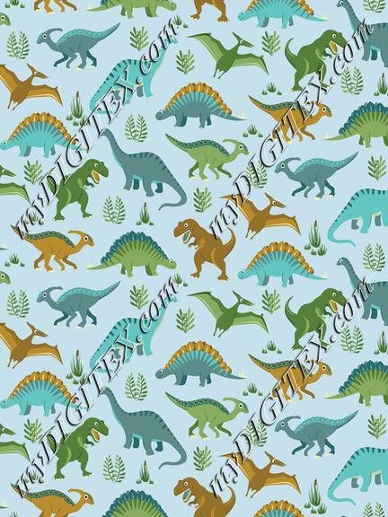 Dinosaur Vegetation Scatter - Pale Blue