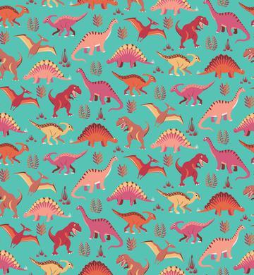 Dinosaur Vegetation Scatter - Salmon Aqua Version