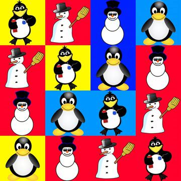 Penguins and snowman colorful pattern