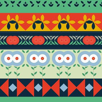 Shapes rows in retro colors