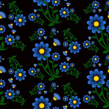 Blue flowers on a black background pattern