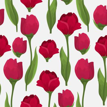 Red roses on a white background pattern