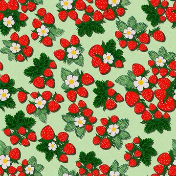 ROS033121EmbroideredStrawberriesGreen100%