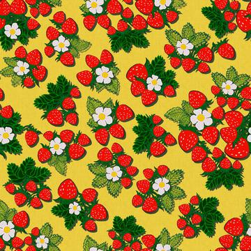ROS033121EmbroideredStrawberriesYellow100%